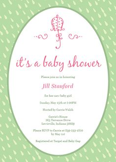 Customizable baby shower invitation template - Pink Baby Umbrella
