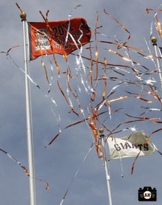 The 2012 World Series Flag is raised during a special #SFGiants Opening Day Ceremony (April 5, 2013)