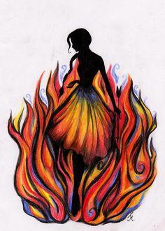 katniss everdeen, the hunger, fan art, catching fire, hunger game, fire art, game art, colored pencils, artwork