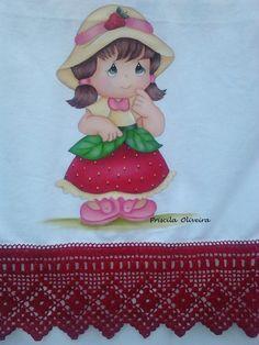 """Pano de prato """"menininha fruta"""""""