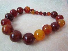 Bakelite Necklace Beads 1930's Art Deco by VintagePolkaDotcom, $120.00