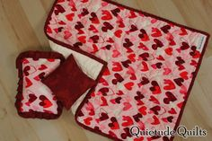 Valentine Doll Quilt - Valentine Hearts Doll Blanket and Pillows
