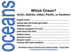 Oceans Scavenger Hunt (free printable)