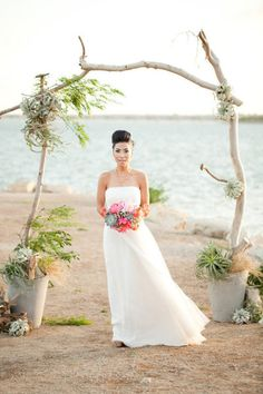 beach wedding ceremony arch backdrop.