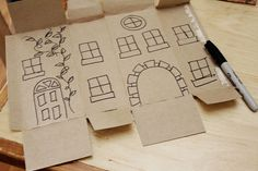 Inside out product boxes turned into buildings. Clever!