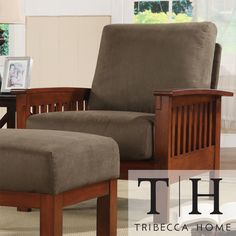 TRIBECCA HOME Hills Mission-Style Oak and Olive Microfiber Accent Chair | Overstock.com Shopping - The Best Deals on Chairs