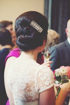 Beautiful bridal 'up do', from 'A Jesús Peiró Gown for a City Chic Style Art Deco Inspired London Wedding  http://missgen.com/