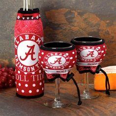 Alabama Crimson Tide Wine Bottle & Glasses 3-Piece Woozie Set