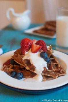 Whole-Wheat Waffles with Creamy Vanilla Yogurt Sauce