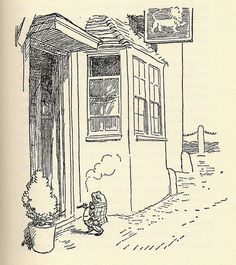 The Wind in the Willows illustration by E.H. Shepard - Mr. Toad having a smoke.