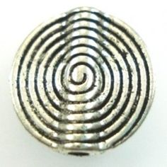 Silver Swirl Round Large Bead - 1 - Spoil Me Silly Jewellery