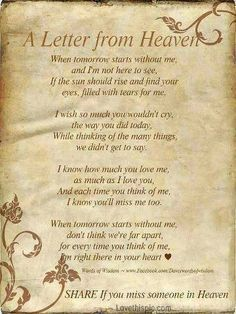 A letter from Heaven quotes quote heaven in memory