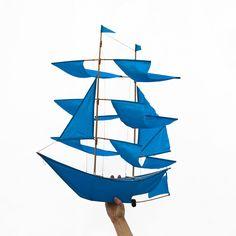 Sailing Ship Kite - azure