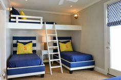 Fun for a cabin or shared kids bedroom. Getting 3 beds in a tight space.