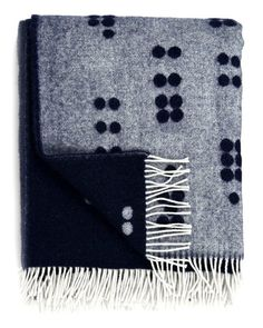 Wool Dot Throw in Navy