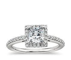 Princess Cut Halo Diamond Engagement Ring in 14K White Gold