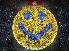 World's Largest Smile - 2,012 people wearing ponchos in Bangkok, Thailand.