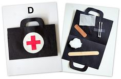 "using this for Hero week when we get a visit from a local ambulance service.  they will make a ""medic bag""  Previous pinner wrote:  Activities for each letter of the week (Click ABC's at the top) Letter D Doctor Kit"