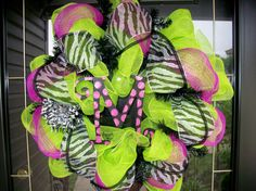 Lime Green and Black Zebra Wreath