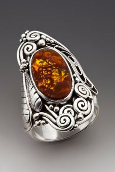 Silver and Fire Agate Ring