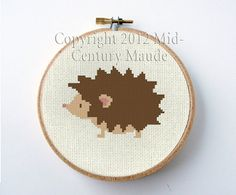 HedgeHog Cross Stitch Pattern PDF Digital by MidCenturyMaude, $5.00