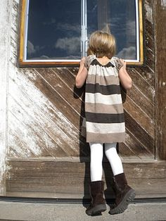 man's sweater to girl's dress.