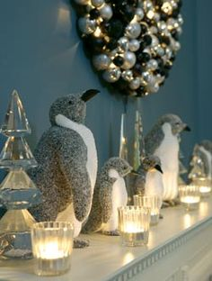 Fluffy penguins and silver ornaments