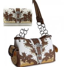 Tan Western Buckle Cowgirl Style Purse W Matching Wallet Item No.   hbmtwbcspps  In Stock  $55.99