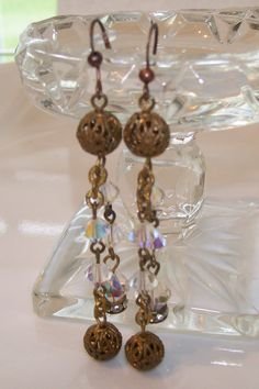 Antiqued Brass Filigree and Crystal Earrings by NonisEclecticShop, $18.00