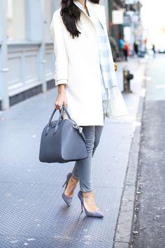 White coat with grey