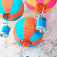 Great DIY decorations. Turn Chinese Paper lanterns into hot air balloons