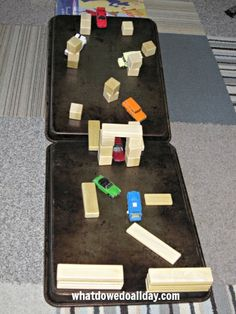DIY Obstacle Course for Toy Cars -- fun for indoor play and easy to set up!