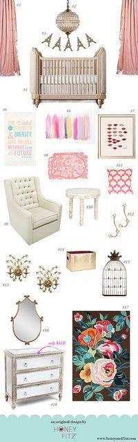 A girly French inspired Nursery by Honey + Fitz