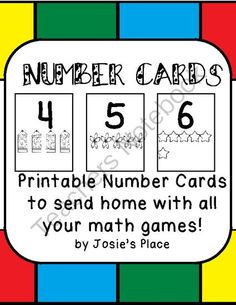 NUMBER CARDS from Josie's Place on TeachersNotebook.com -  (5 pages)  - Printable Number Cards to send home with students.
