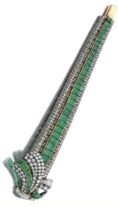 ART DECO EMERALD & DIAMOND BRACELET, LATE 1930S Designed as stylised tied ribbon, set with calibré- & step-cut emeralds, circular-, brilliant-, single-cut & baguette diamonds, length approx 165mm.
