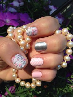 Put on some new Jamberry nail wraps today! Feminine Flair in matte finish with Diamond Dust Sparkle and RETIRED Cotton Candy layered with White Chevron http://lkite.jamberrynails.et