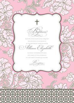 Pale Pink Brocade Baptism Invitation