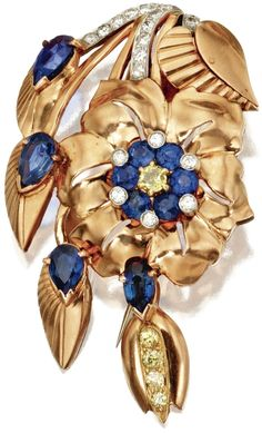 14 Karat Pink Gold, Platinum, Sapphire, Colored Diamond and Diamond Clip-Brooch, J.E. Caldwell, Circa 1945.      Designed as a floral spray set with pear-shaped and round sapphires, round diamonds of yellow hue weighing approximately .60 carat, and near colorless round diamonds weighing approximately .35 carat, signed J.E. Caldwell.