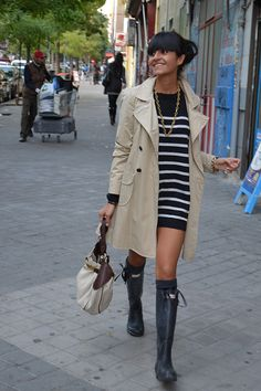 Trench coat, striped dress & wellies