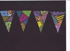 banners - beginning of school project, decorate the art room. Pattern, color, shape  Love this!!!