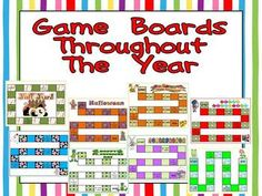 This packet includes 62 different game-boards to use throughout the year; there are game-boards for back to school, fall, Halloween, Thanksgiving, Christmas, winter, Valentine's Day, St. Patrick's Day, Easter, and spring.    These game-boards can be used with any subject or any grade level. Just add a set of flash cards or a list of questions and you have a game center ready to go!! This set would also be a great activity to have available to students as they finish their other work. $