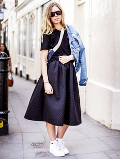 Casual street style full skirts, street style, skirt outfits