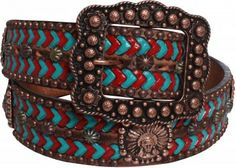 Turquoise and red rope tooled leather belt with copper conchos
