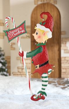 Christmas Elf Stake - perfect for a candy cane lane decoration!