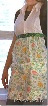 Apron from a skirt and and a sheet #sewing