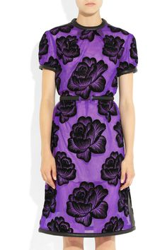Christopher Kane|Leather-trimmed flocked tulle dressFW2012