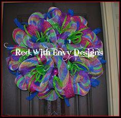 Deco Mesh Wreath Design | BRIGHT Rainbow Deco Mesh Wreath by RedWithEnvyDesigns on Etsy