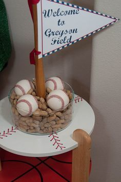 Love the peanuts and baseballs - Vintage Baseball Birthday Party Ideas