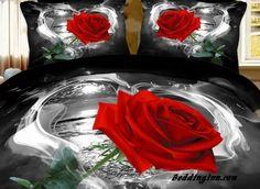 #rose #3d Wild Black and Red Rose 4 Piece Bedding Sets  Live a better life, start with @beddinginn http://www.beddinginn.com/product/New-Arrival-High-Quality-Wild-Black-and-White-Rose-4-Piece-Bedding-Sets-Comforter-Sets-10789886.html