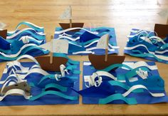 Paper sculpture example- Origami Whales with boat in 3D ocean- elementary art